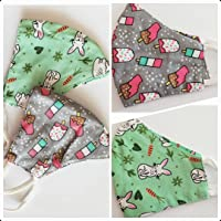 Kids Cloth Face Mask Washable Breathable 100% Pure cotton soft Cute Cartoon Print Comfortable fashion Pack of 2 for Boy…