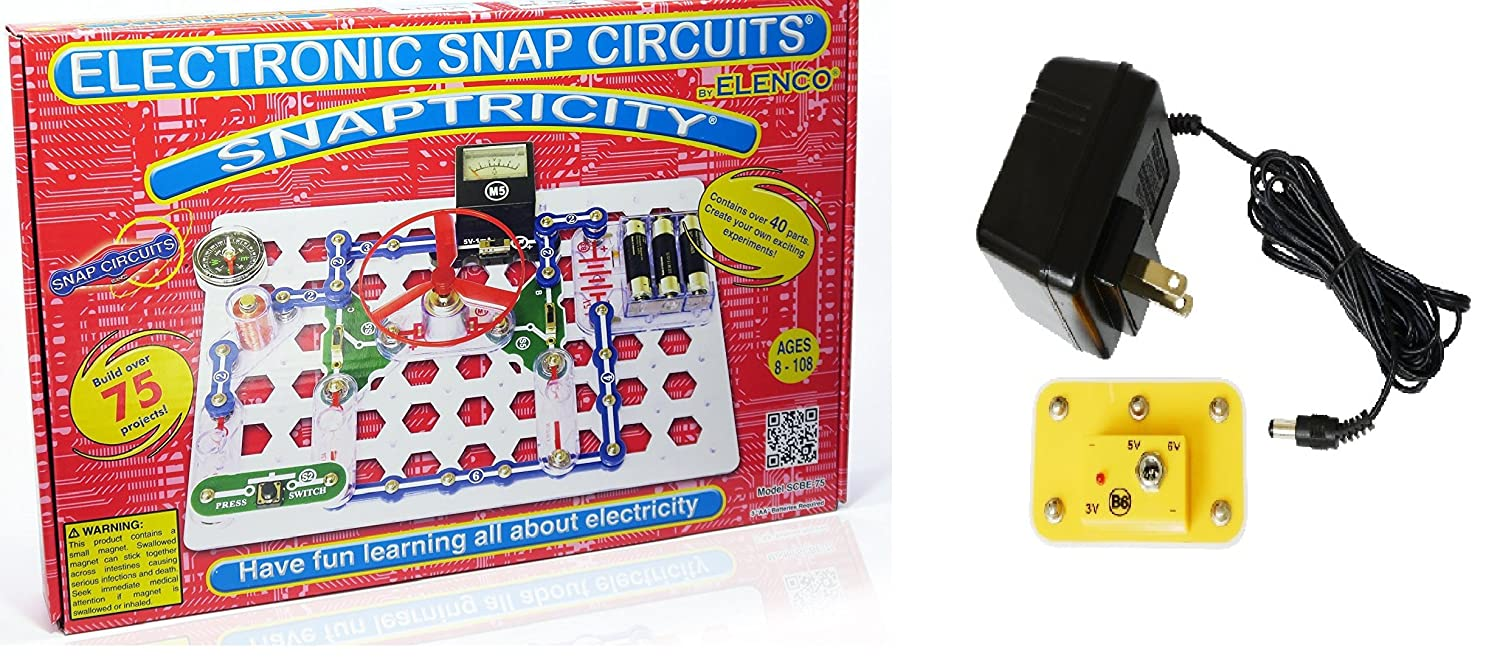 Snap Circuits Snaptricity Electronics Discovery Kit Learning About Circuit Deluxe Stem Bundle With Battery Eliminator No Soldering Tools Its A