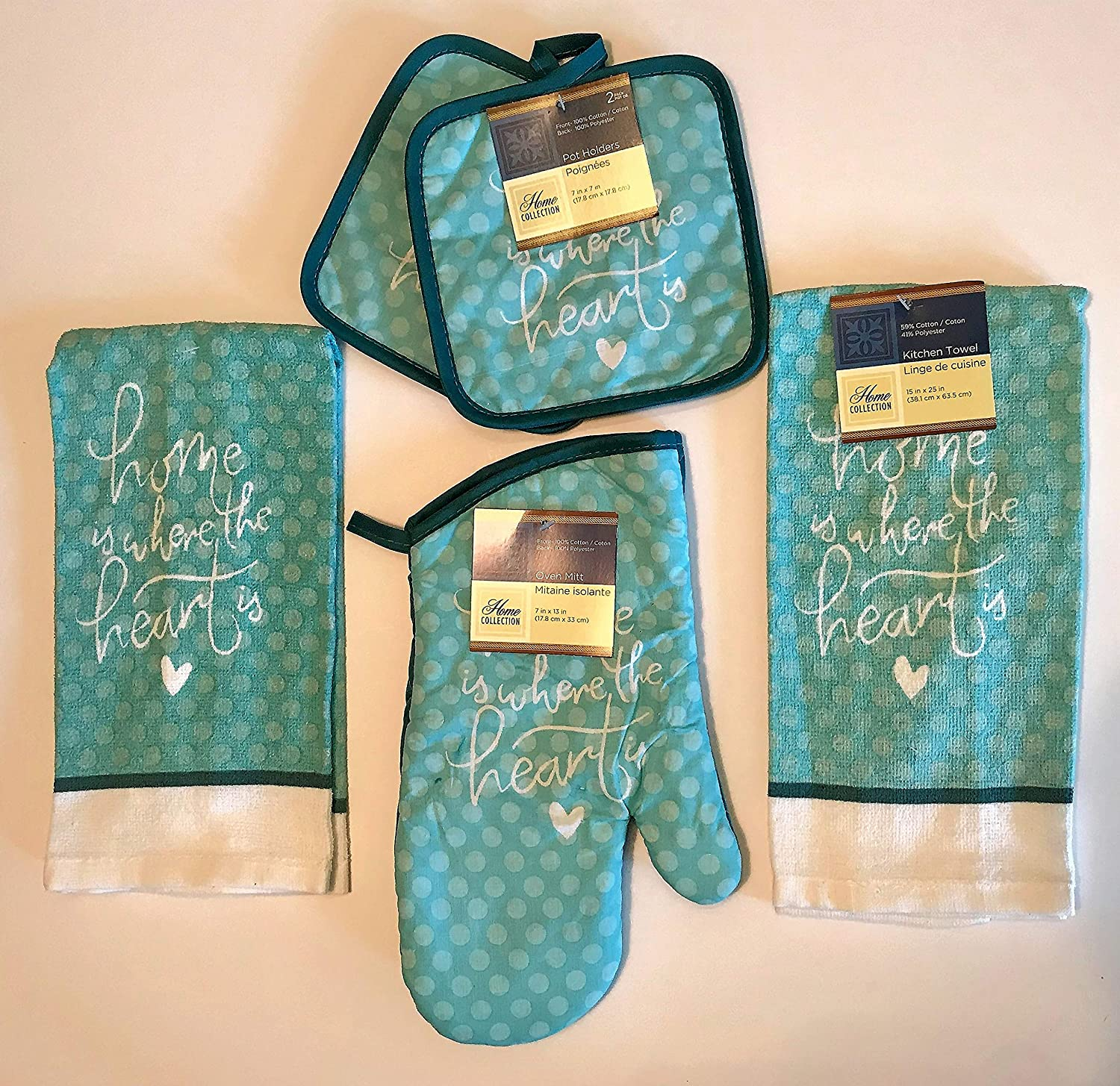 Home Collection 5 Piece Kitchen Linens (Home is Where The Heart is)