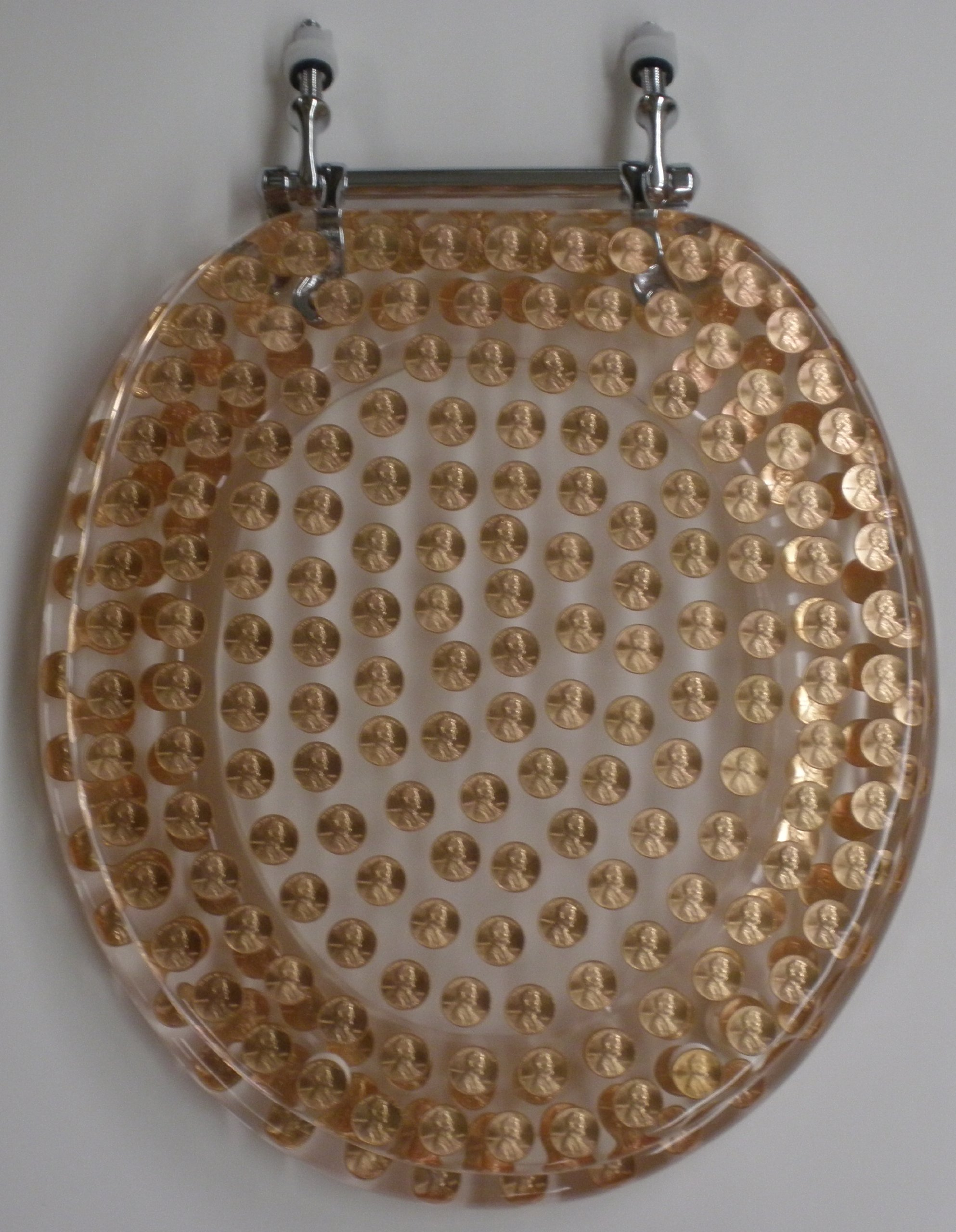 REAL U.S. PENNIES COINS MONEY LUCITE RESIN TOILET SEAT , Elongated Size Penny Toilet Seat (14.5'' x18'')