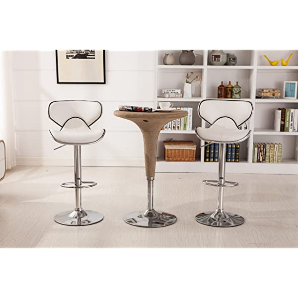 Roundhill Furniture Masaccio Cushioned White Leatherette Upholstery Airlift Swivel Barstool (Set of 2)