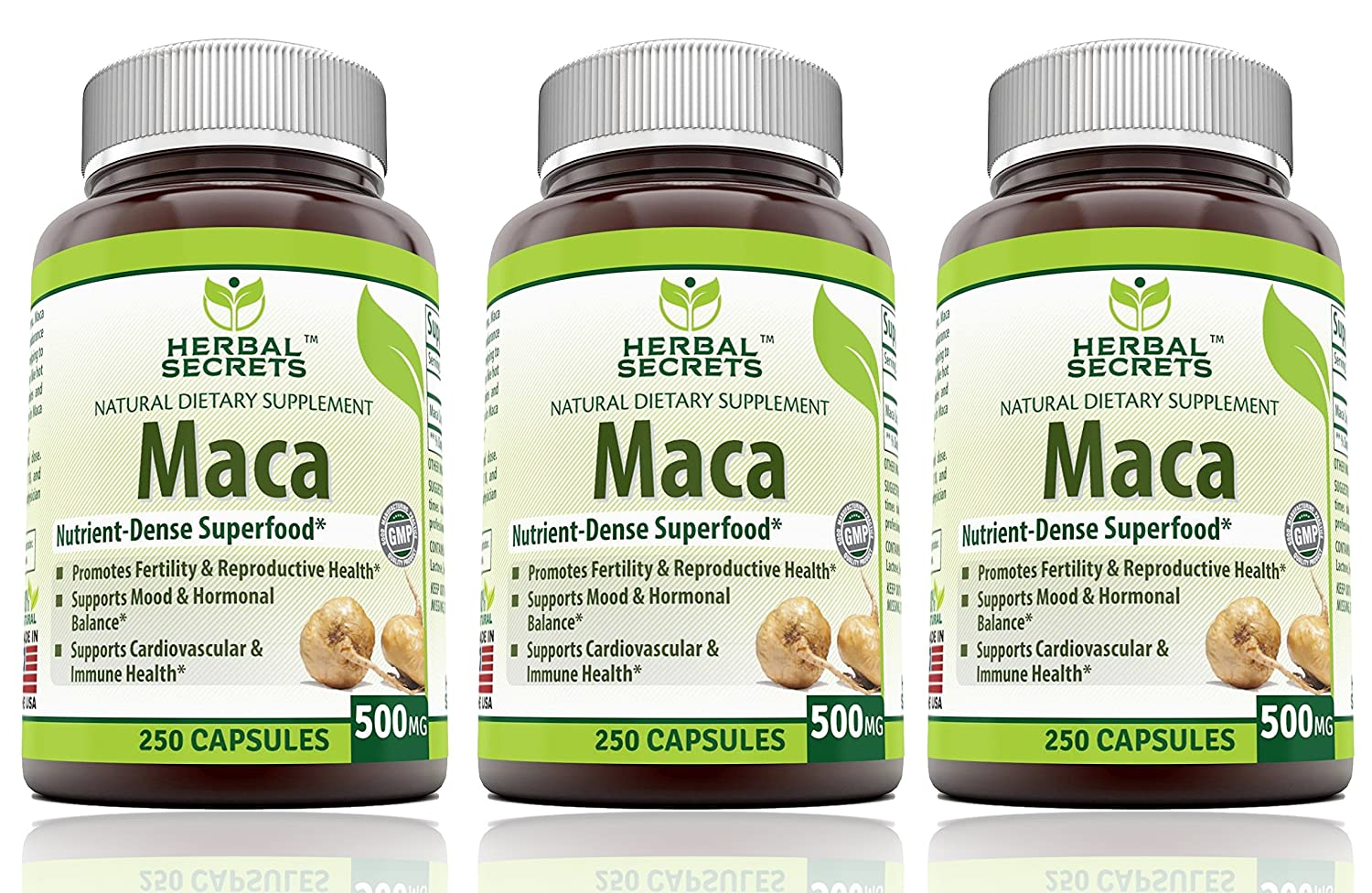 Herbal Secrets Maca 500 Mg 250 Caps – Supports Reproductive Health – Energizing Herb*, Pack of 3