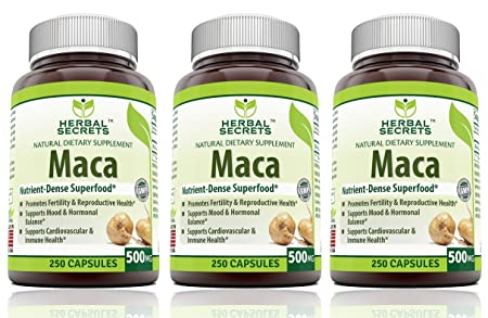 Herbal Secrets Maca 500 Mg 250 Veggie Capsules (Non-GMO) - Supports  Reproductive Health,