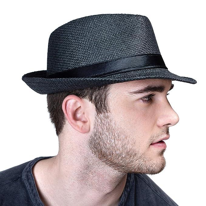 b1515b646893 Amazon.com: accsa Men Fedora Straw Panama Hat Classic Solid Black Summer  UPF50 UV Sun Protection: Clothing