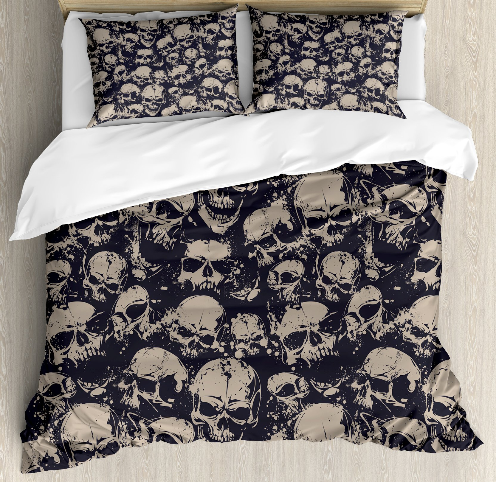 Ambesonne Skull Duvet Cover Set King Size by, Grunge Scary Skulls Sketchy Graveyard Death Evil Face Horror Theme Design, Decorative 3 Piece Bedding Set with 2 Pillow Shams, Charcoal Grey Tan by Ambesonne (Image #1)