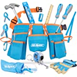 Tools Hi-Spec 12 Piece Young Builder's Tool Set Tool Belt with Real Hand Tools, Accessories, Eye Protection and Tool…