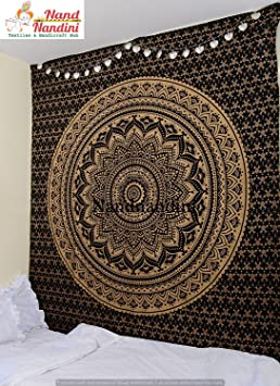 Indien Noir Or Hippie Mandala Boho Boheme Literie Decor Home Decor