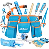 Hi-Spec 16 Piece Childrens Tool Kit with Kids Size Tool Belt, Real Leather Work Gloves, Safety Glasses, Wooden Rule, REAL Small Size Hand Tools for DIY Construction Education School Project Tool Set