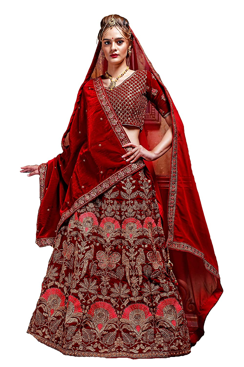 12ee18c9f RAMDEV EMPERIO Bridal Collection Velvet Lehenga choli for girls(Maroon,  1029, Free size): Amazon.in: Clothing & Accessories