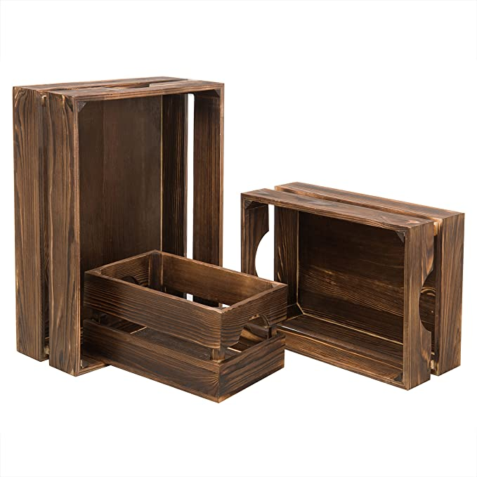 Wooden Crate Nesting Boxes for Storage 3 Sizes, Dark Brown, 3 Pieces