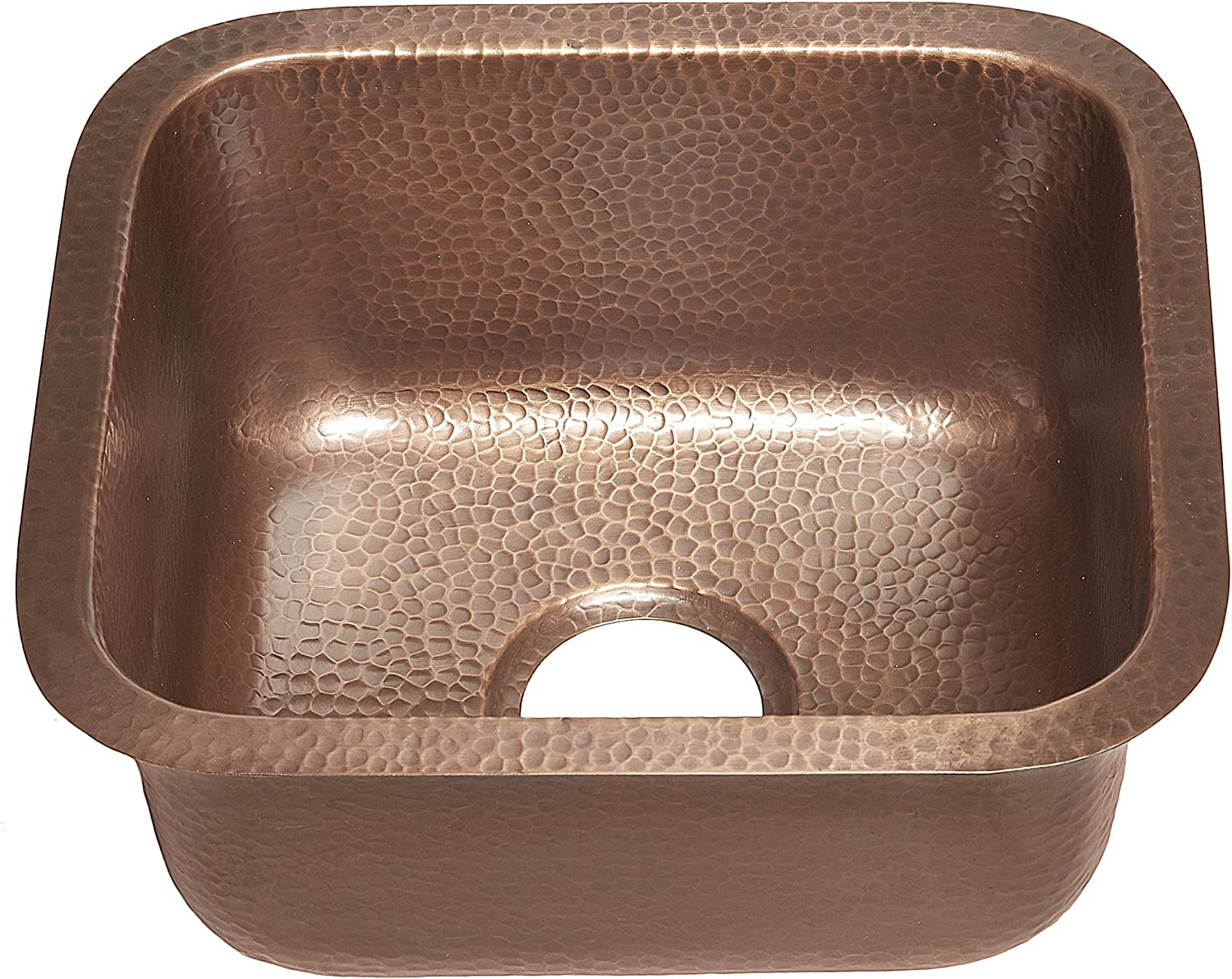 Sinkology Sisley 17-inch Bar Prep Copper Sink in Hammered Antique copper