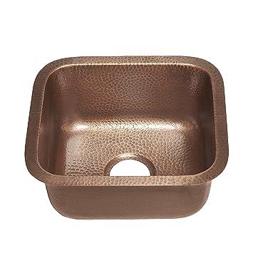 Superb Sinkology Sisley 17 Inch Bar Prep Copper Sink In Hammered Antique Copper