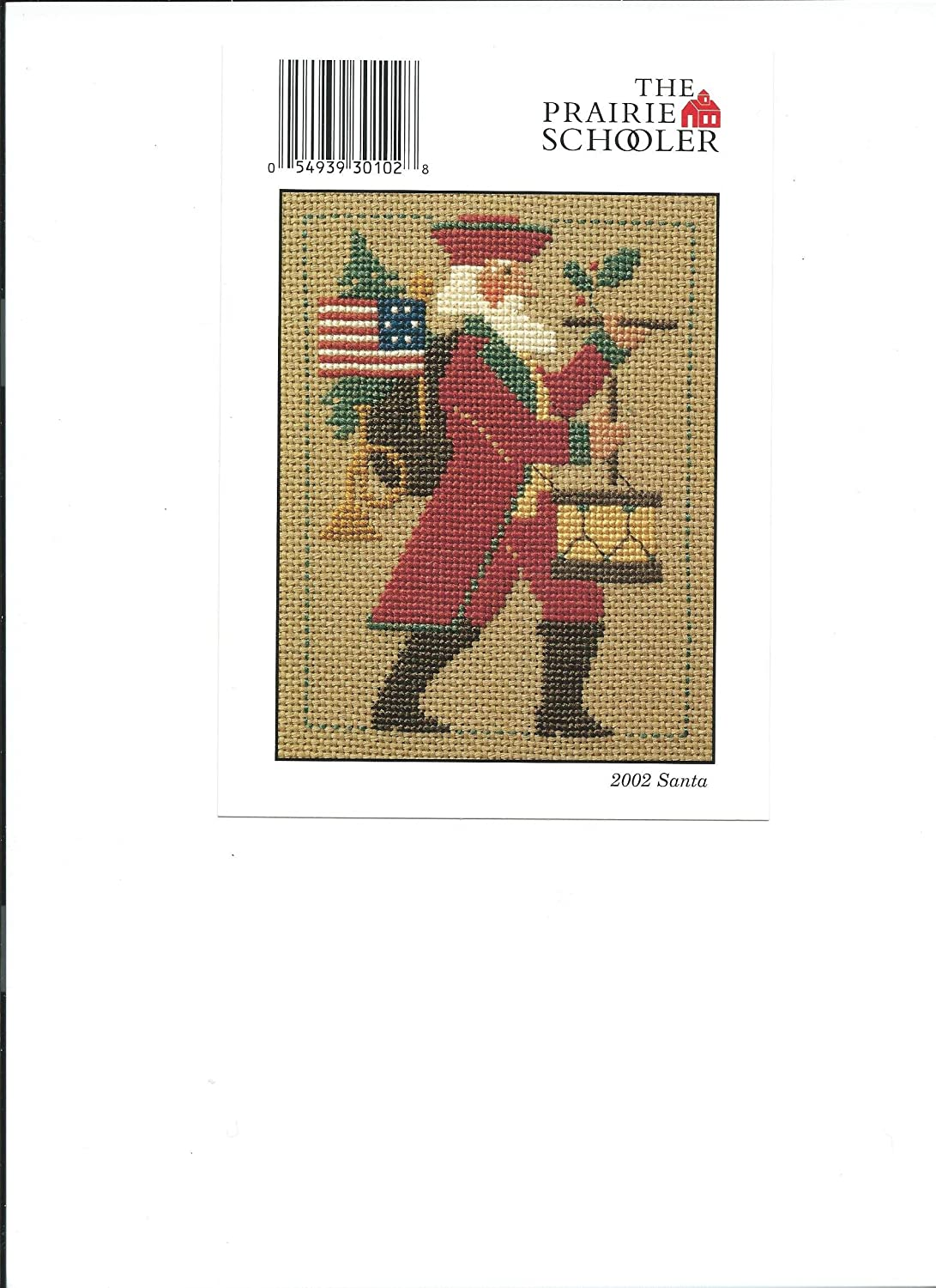 The Prairie Schooler--2002 SANTA--Counted Cross Stitch Pattern Card