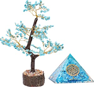 PARUHAS Turquoise Tree Orgone Pyramid Flower of Life Money Gemstone Reiki Healing Crystal Room Decor Feng Shui Home Statues & Figurines Good Luck Office Desk Buddha Home Decoration Positive Energy