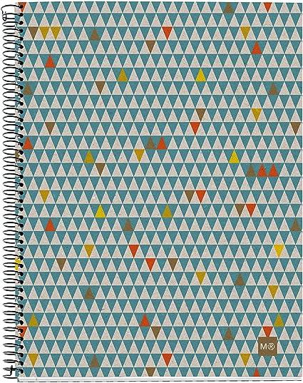 Miquel Rius 2462 - Cuaderno Notebook 100% Reciclado - 4 franjas de color, A5, 120 Hojas cuadriculadas 5mm, Papel 80 g, 2 Taladros, Cubierta de Cartón Reciclado, Diseño Ecotriangles: Amazon.es: Oficina y papelería