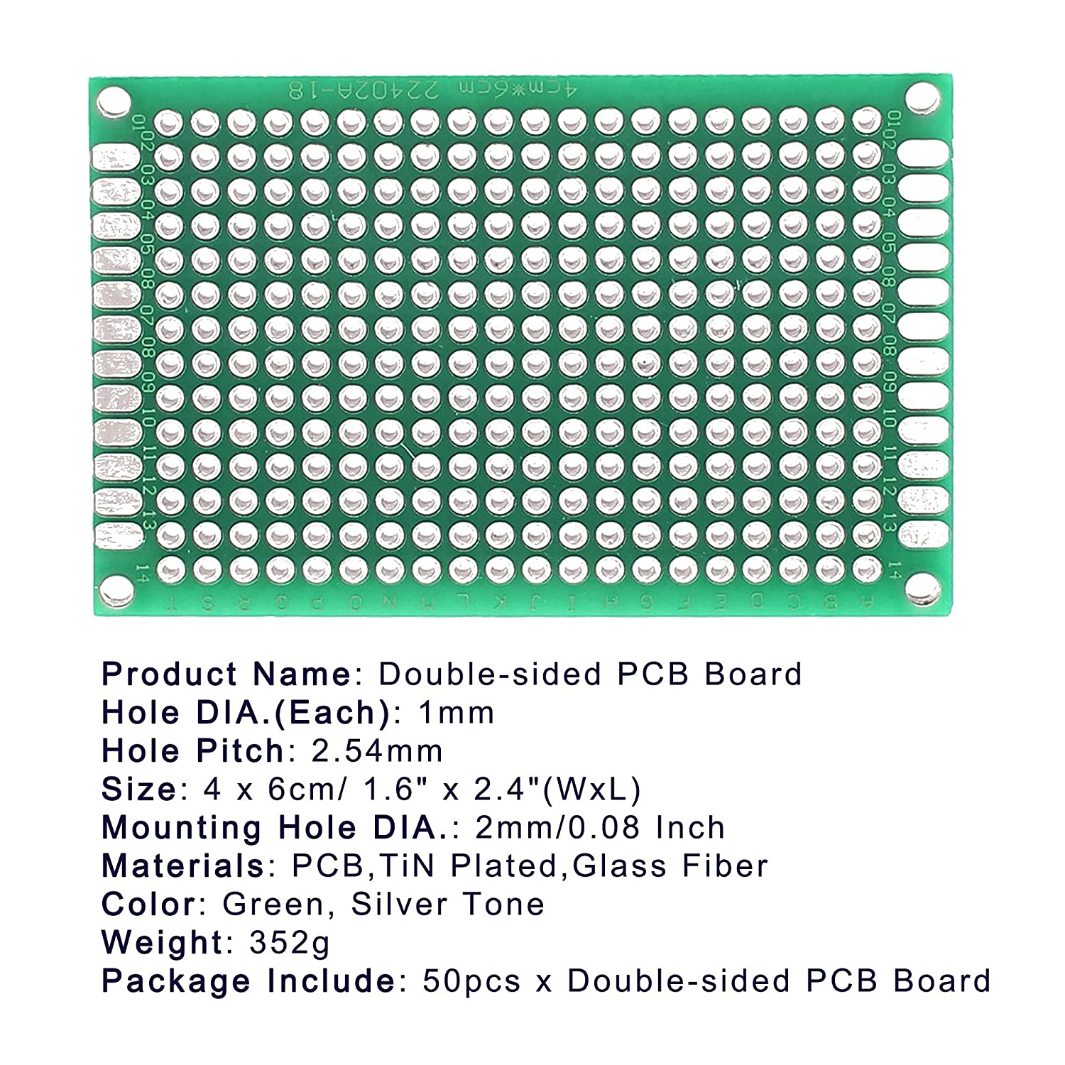 Lantee 50 Pcs Double Sided Protoboard Prototyping Pcb Prototype Aquisition Of Electronic Circuit Boards Pcbs And Universal Printed Board Kit 4cm X 6cm For Diy Industrial Scientific
