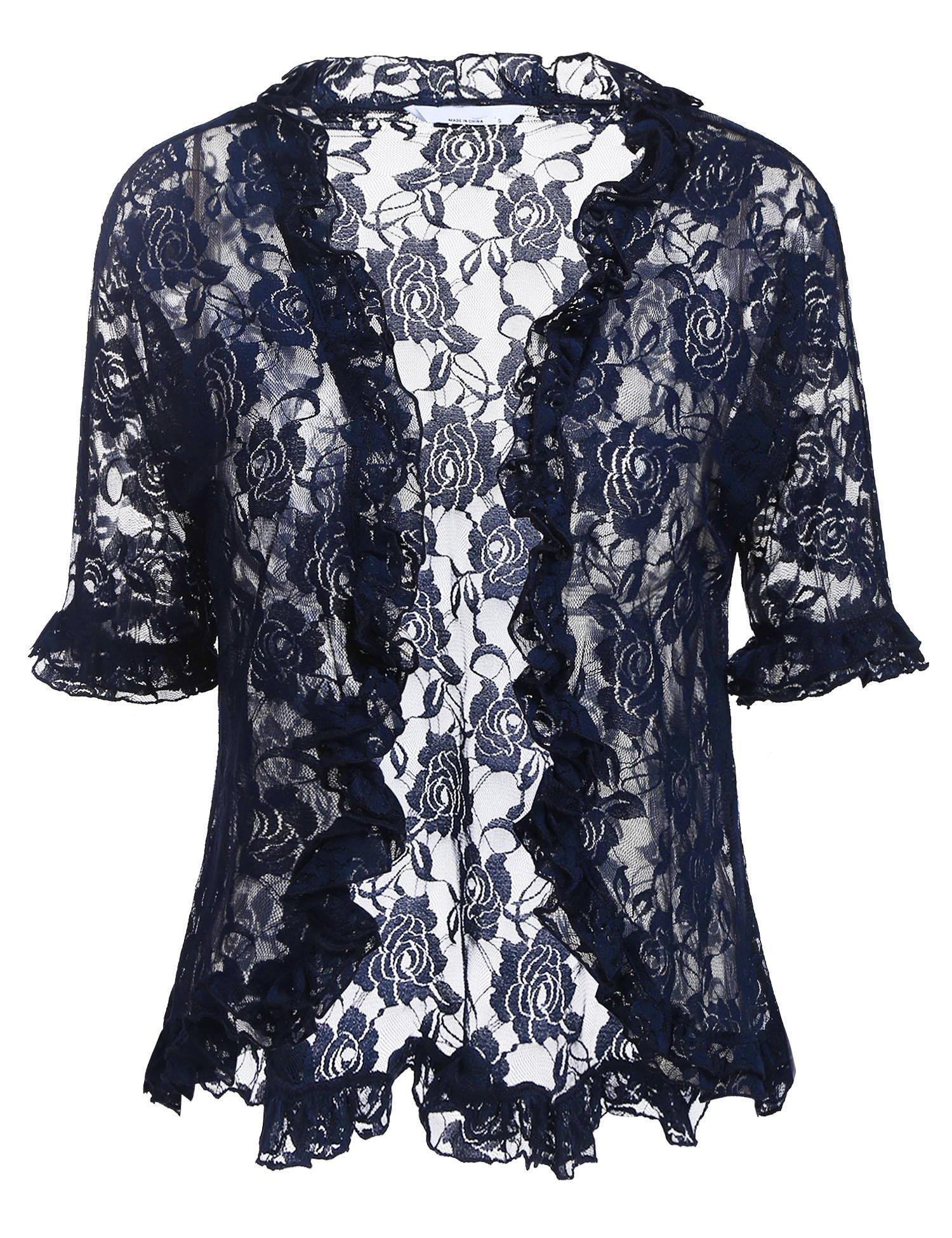 ELESOL Women's Solid Soft Stretch Party Bolero Shrug Retro Style Open Cardigan Navy Blue/XL