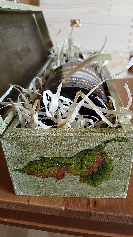 Exclusivo de Madera Caja de vino, vino soporte de madera para 1 botella, caja de estilo vintage, decorado a mano con técnica de decoupage, uvas salvajes, ...