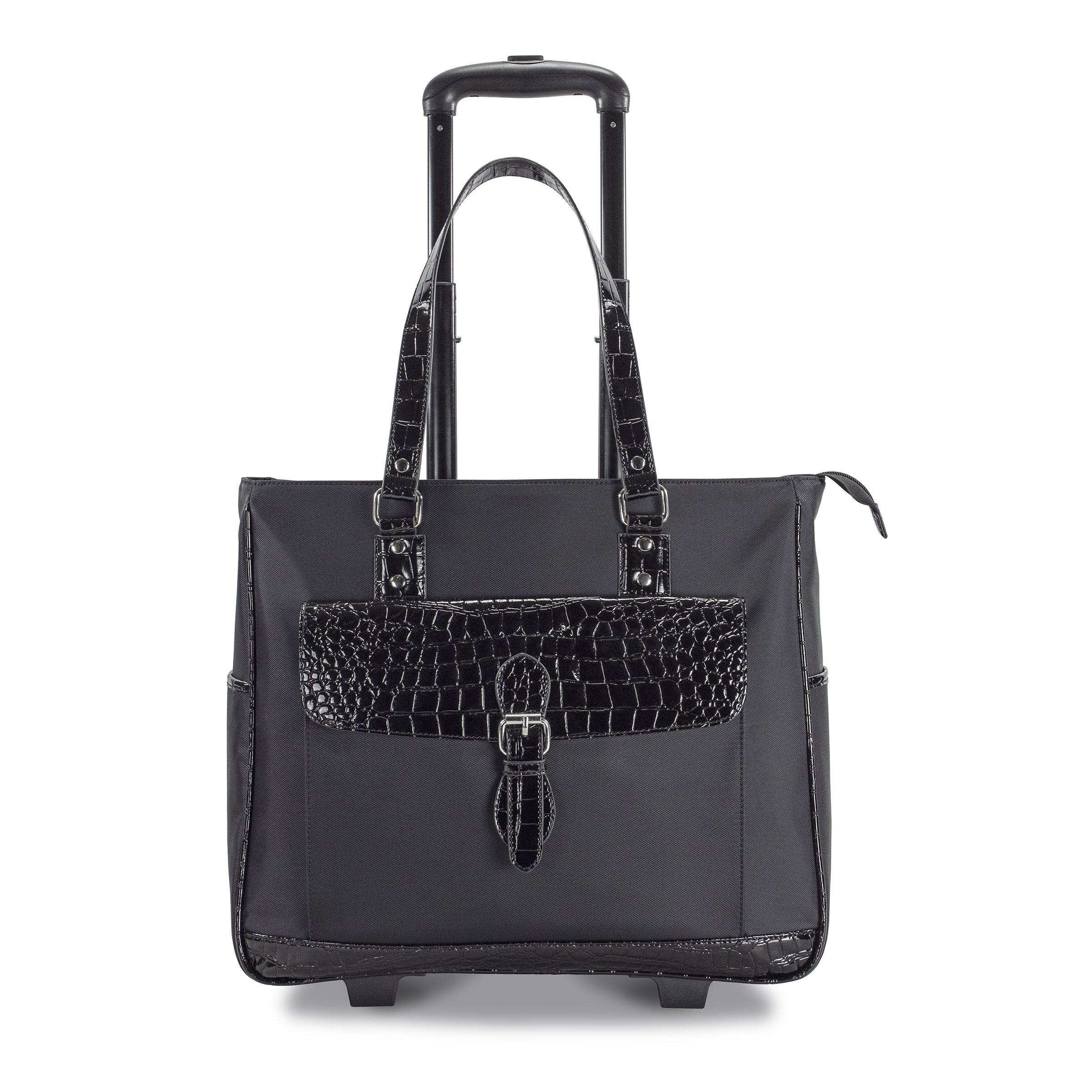Heritage Ladies Nylon Twill Croco PVC Single Gusset Wheeled Computer Case, Black, One Size
