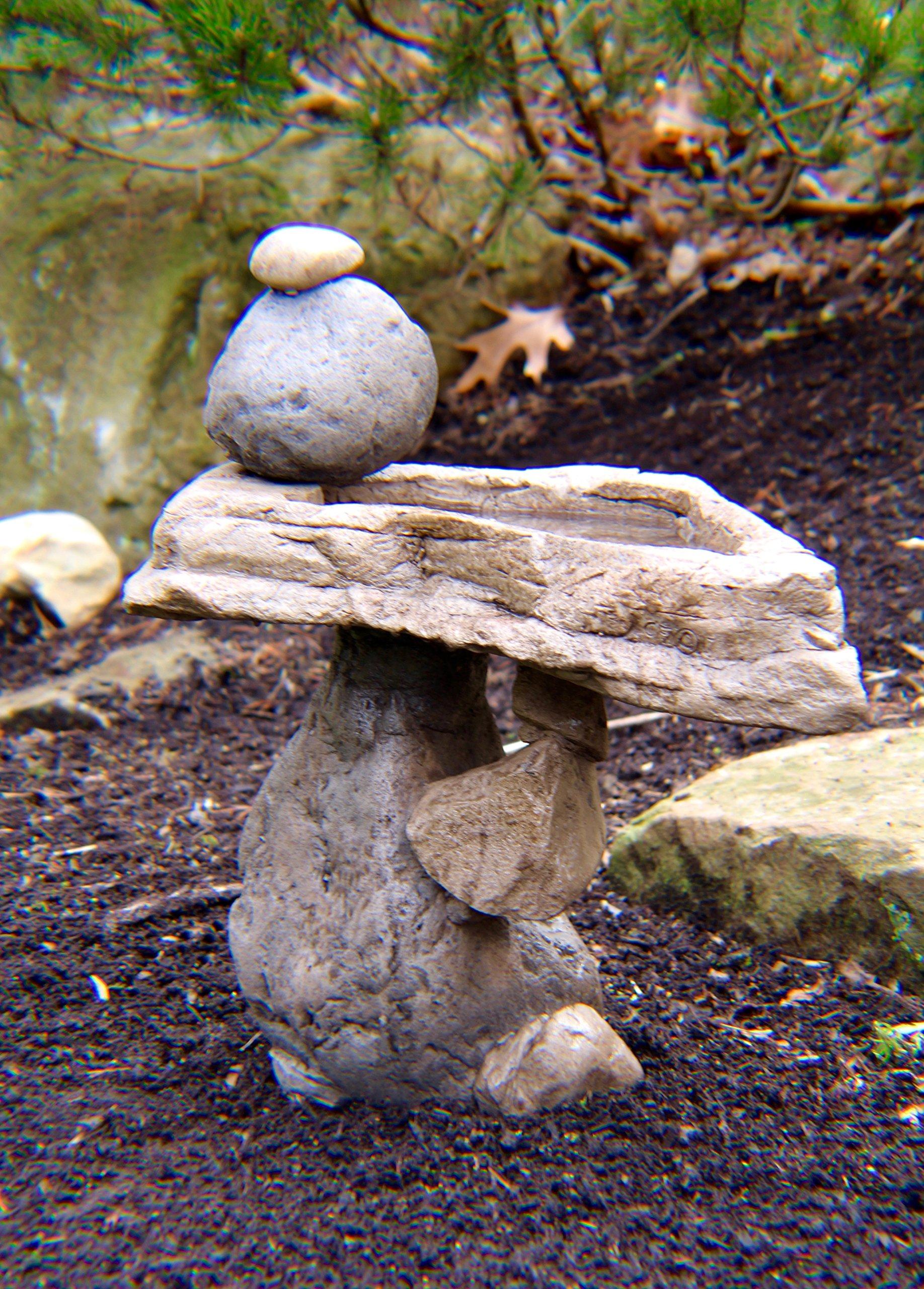 Balancing Rock Birdbath Sculpture Home & Garden Decor Water Feature