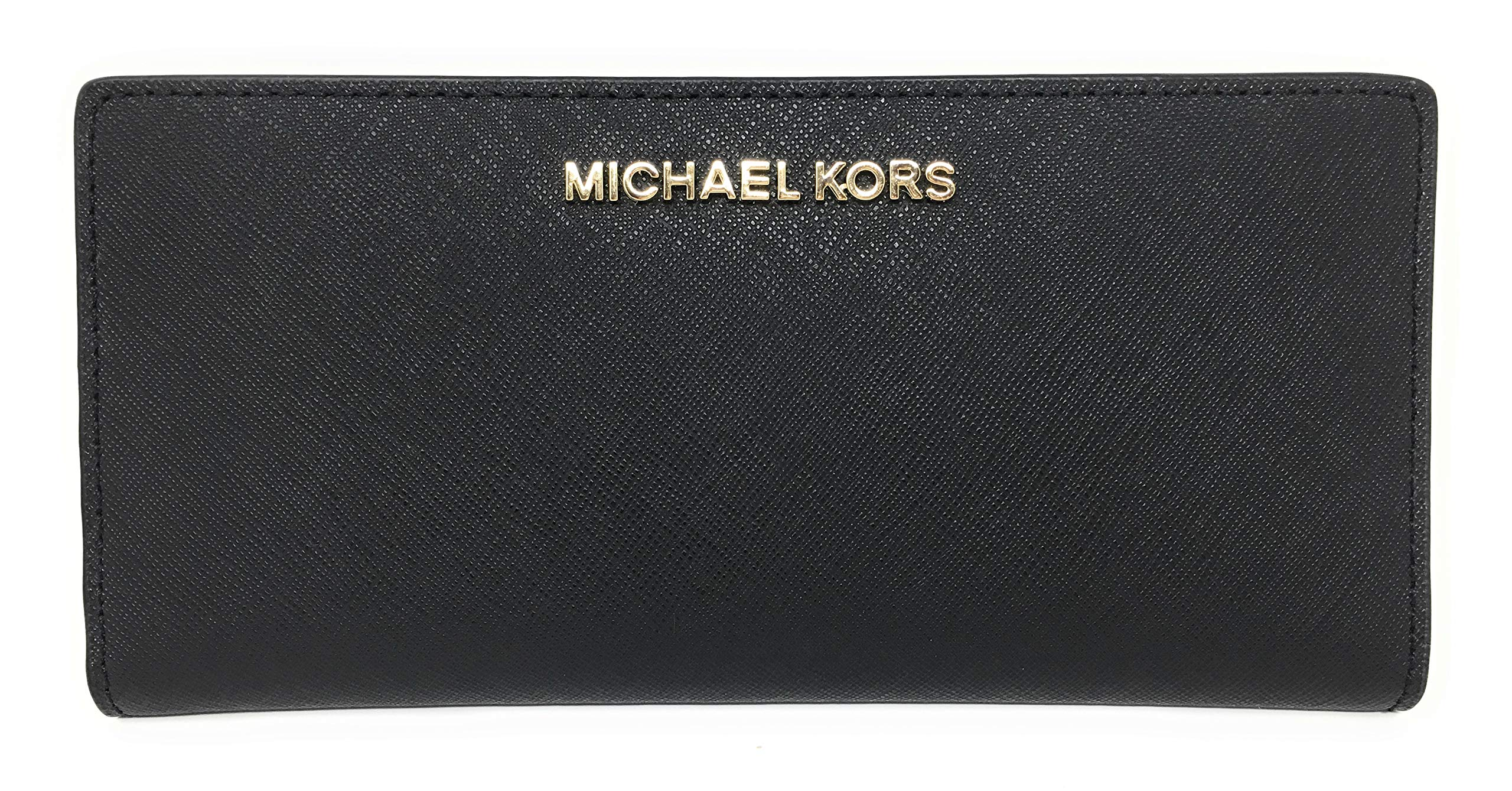 Michael Kors Jet Set Travel Leather Medium Large Card Case Carryall Wallet with Removable ID Card Holder (Black with Gold Hardware)