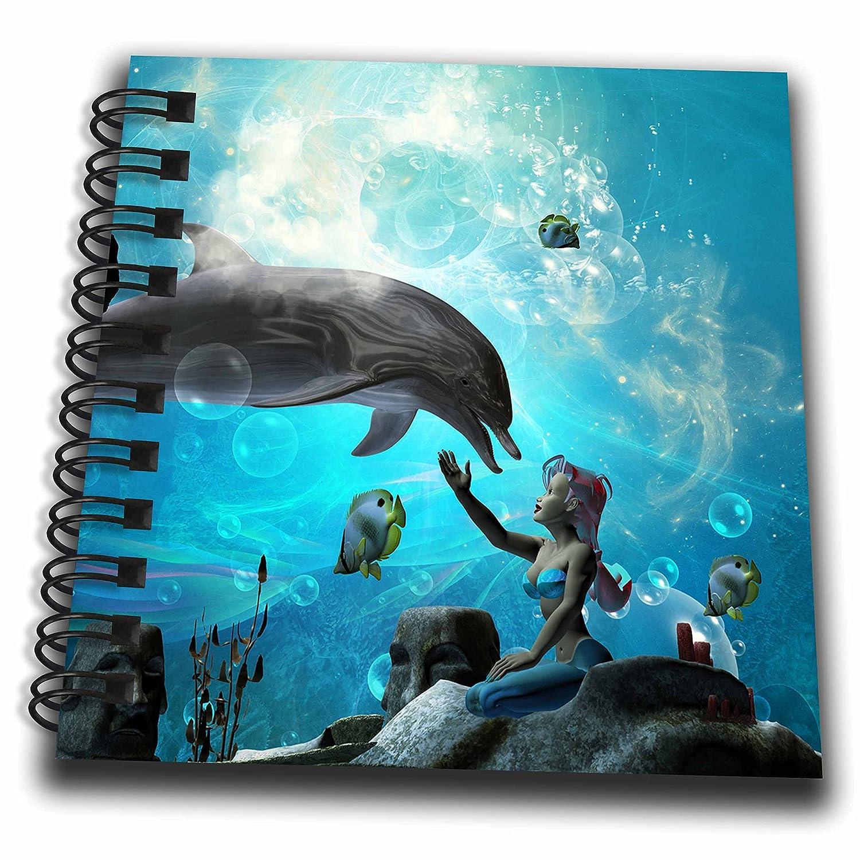 3dRose Unterwasserwelt-, Delfin-Block, 4x 4cm
