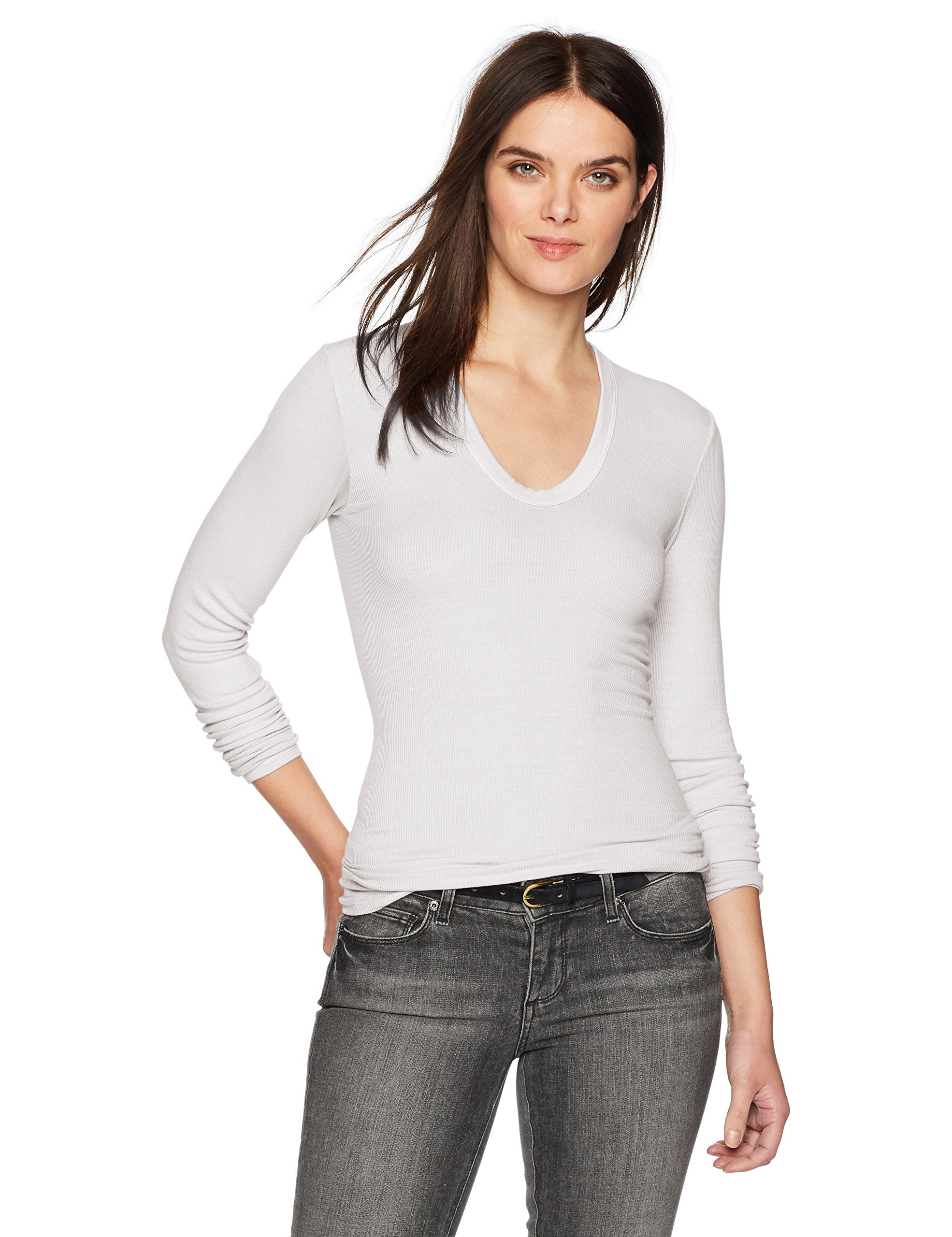 Enza Costa Women's Rib Fitted Long Sleeve U-Neck Top, White, S