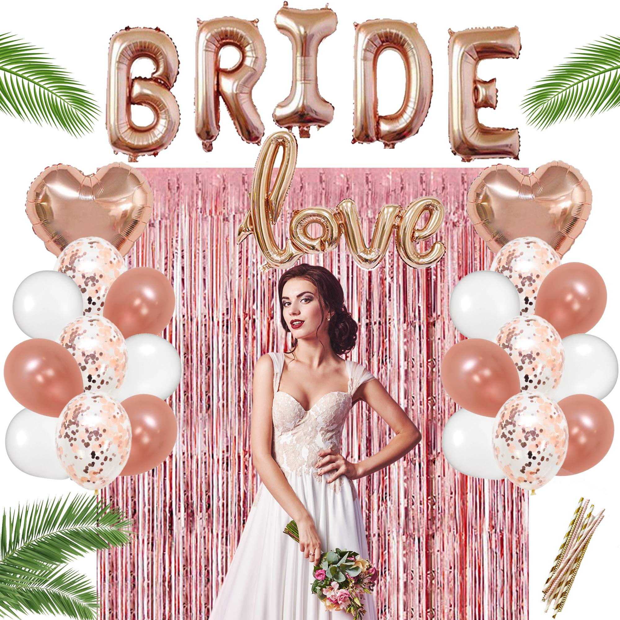 Bachelorette Party Decorations kit Rose Gold Bridal Shower Decoration Supplies Includes Fringe Curtain, 20 Balloons Include 2 Heart & 6 Confetti Balloons & Gold Paper Straws, a Complete Decor Set.