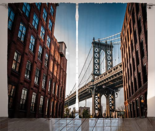 Ambesonne New York Curtains, Manhattan Bridge Seen from Narrow Alley Island Borough Globally Influential Town NYC, Living Room Bedroom Window Drapes 2 Panel Set, 108 X 90 , Red Blue