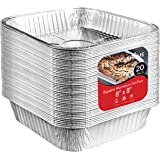 Aluminum Pans 8x8 Disposable Foil Pans (20 Pack) - 8 Inch Square Pans - Tin Foil Pans Great for Cooking, Heating, Storing, Pr