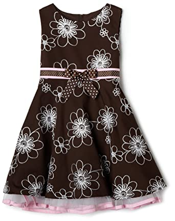 9ed56682afd Rare Editions Little Girls  Floral Embroidered Dress - Brown ...