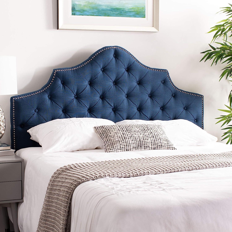 Amazon Com Safavieh Mercer Collection Arebelle Steel Blue Tufted Headboard Queen