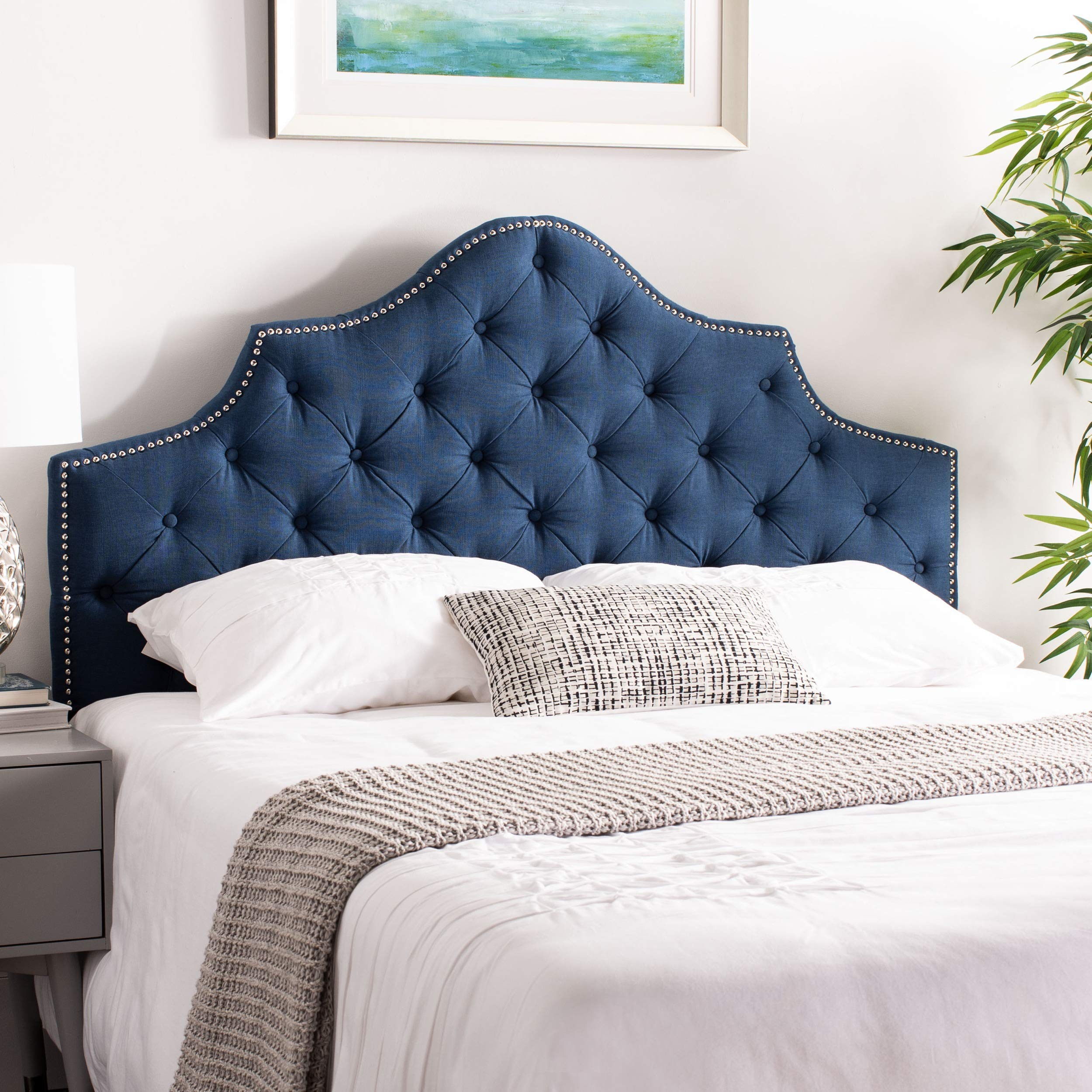 Safavieh Mercer Collection Arebelle Steel Blue Tufted Headboard (Queen)