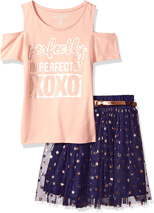XOXO Girls 3 Piece Top and Skirt Set with Headband