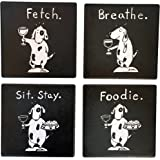 4 Absorbent Drink Coasters - Best Wine Gifts Accessory for Any Wine Enthusiast & Dog Lover.