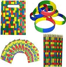 MinifigFans 48 Building Blocks Birthday Party Favors - Bundle Kit Pack Enough for 12 Kids - Treat Bags, Bracelets, Pencils, and Notebooks