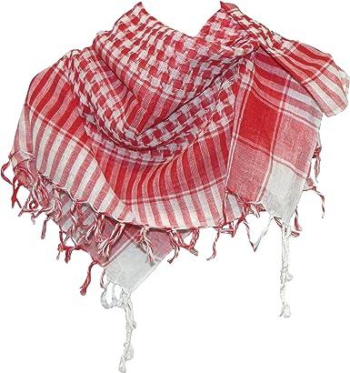 Pañuelo palestino rojo-blanco a cuadros 100x100cm algodón árabe ...