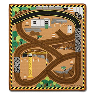 Melissa & Doug Round the Construction Zone Work Site Rug With 3 Wooden Trucks (39 x 36 inches): Toys & Games