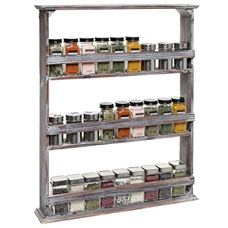Wooden Spice Rack Wall Mount Simple Amazon Country Rustic Style Brown Wood 60 Tier Wall Mounted