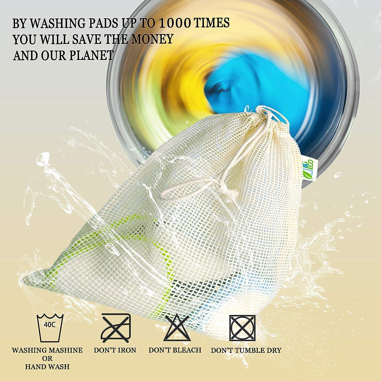 Almohadillas desmaquillantes reutilizables de bamb/ú 16 Piezas 1 bolsa de lavander/ía ecol/ógico 2 bolsas de jab/ón de sisal