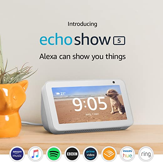 Certified Refurbished Echo Show 5 | Compact smart display with Alexa, White