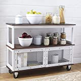 The Lakeside Collection Industrial-Style 3-Tier Rolling Buffet Cart with Metal Accents - White