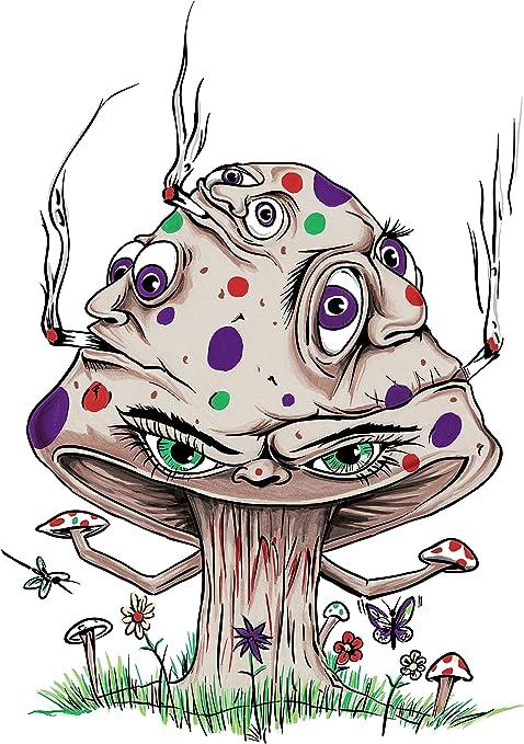 Amazon Com Hat Shark High Mushroom Funny Shroom Smoking Joint Cartoon 18x24 Vinyl Print Poster Posters Prints