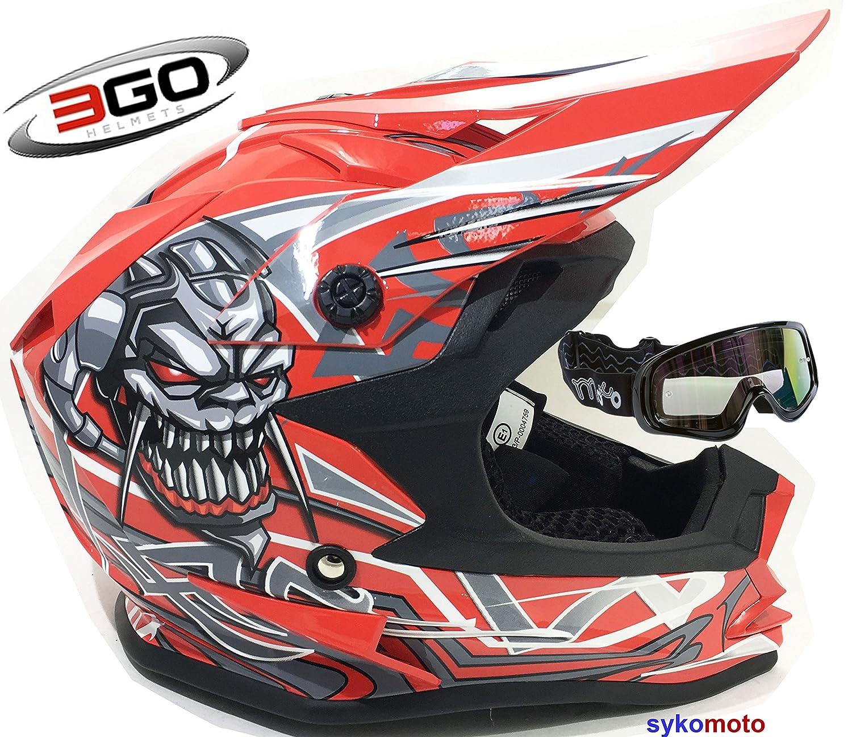 3GO X10-K BAMBINI CRANIO DESIGN MOTOCROSS QUAD ATV ENDURO OFF ROAD CASCO ROSSO CON OCCHIALI (XL (53 - 54 CM)) Motohart