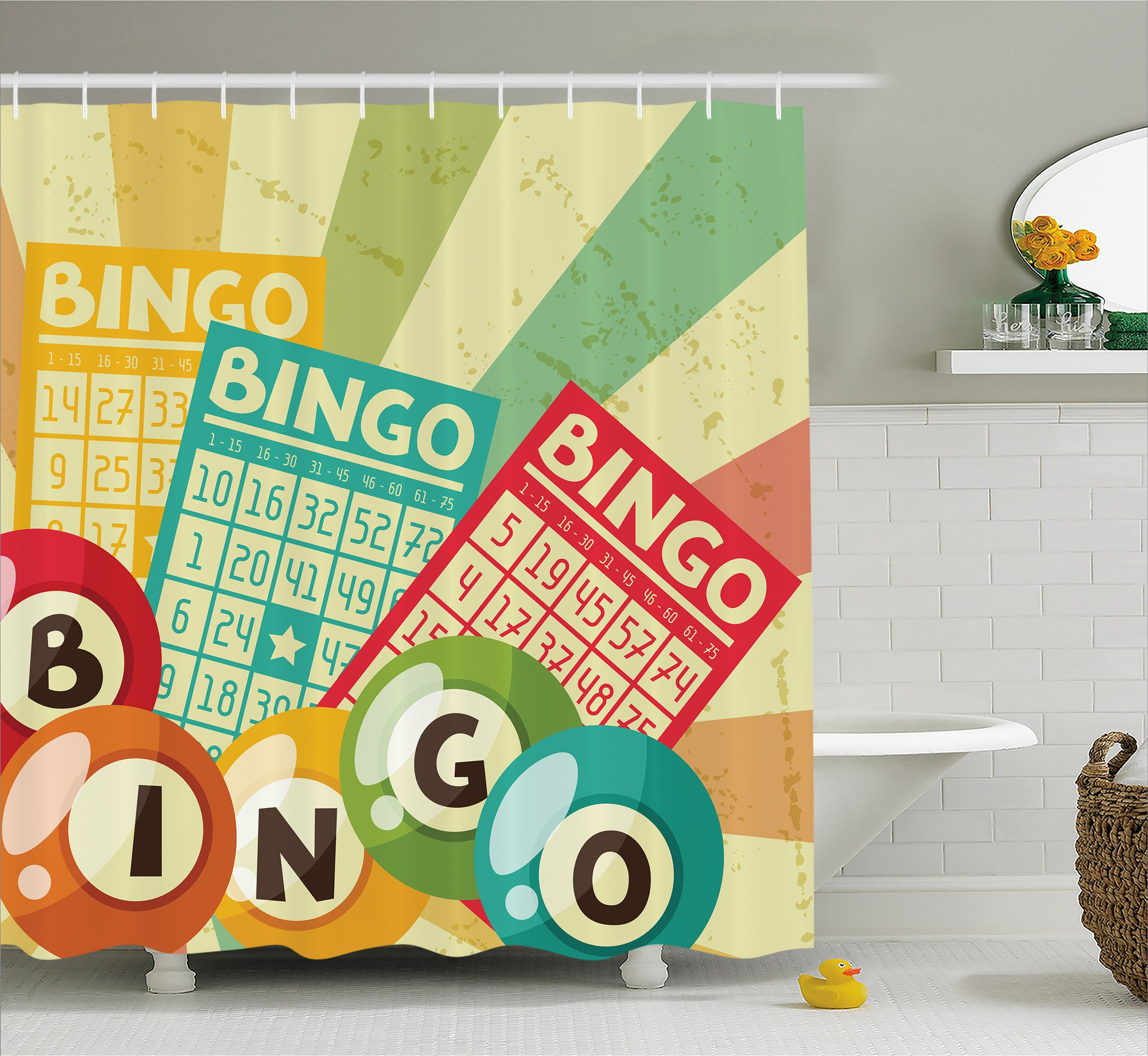 Ambesonne Vintage Decor Shower Curtain, Bingo Game with Ball and Cards Pop Art Stylized Lottery Hobby Celebration Theme, Fabric Bathroom Decor Set with Hooks, 75 inches Long, Multi by Ambesonne