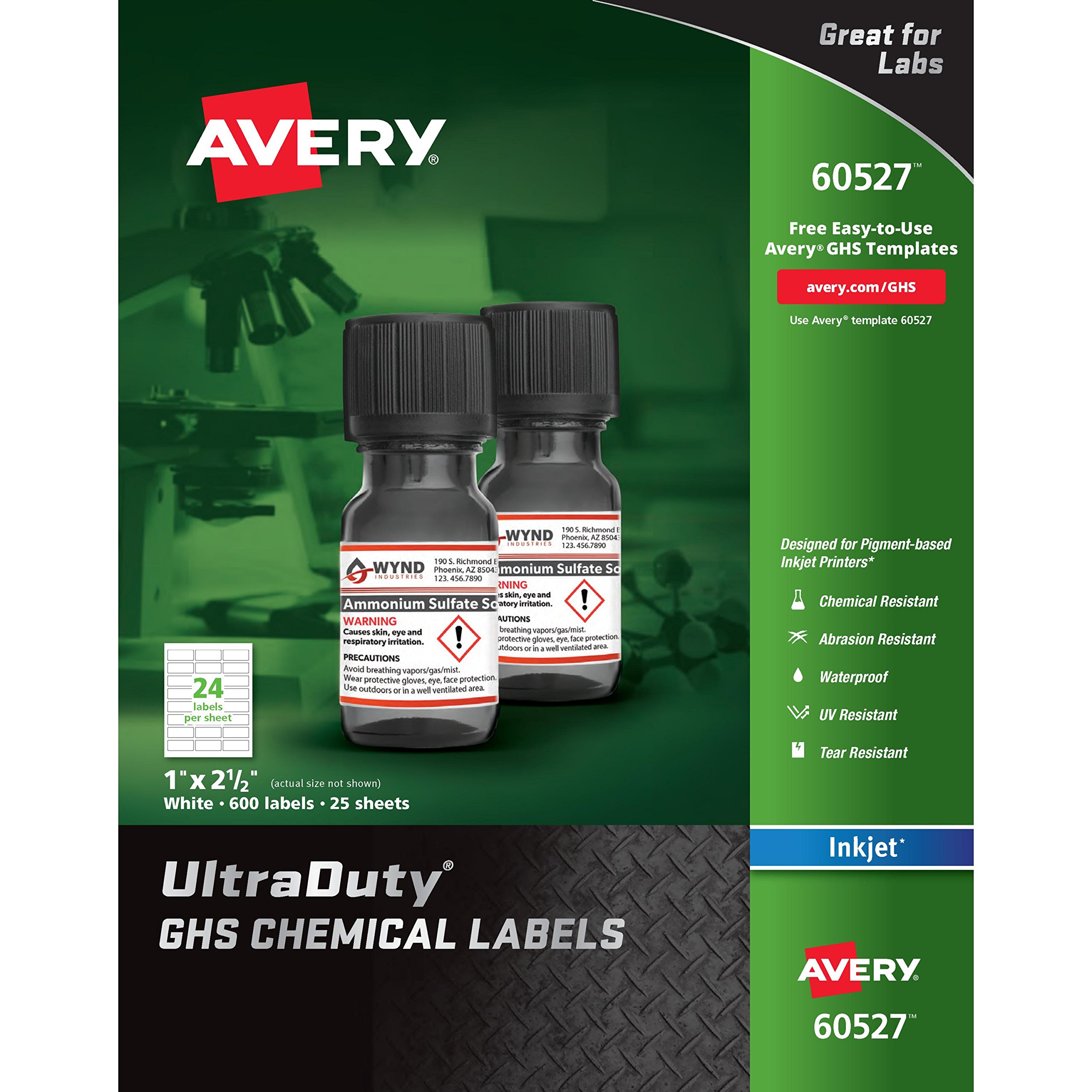 Avery UltraDuty GHS Chemical Labels for Pigment Inkjet Printers, Waterproof, UV Resistant, 1''x 2.5'', Pack of 600 (60527)
