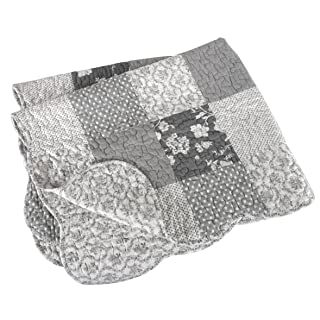 Stephan Baby Reversible Pieced Florals & Dots Crib Quilt with Scalloped Hem, Gray and White