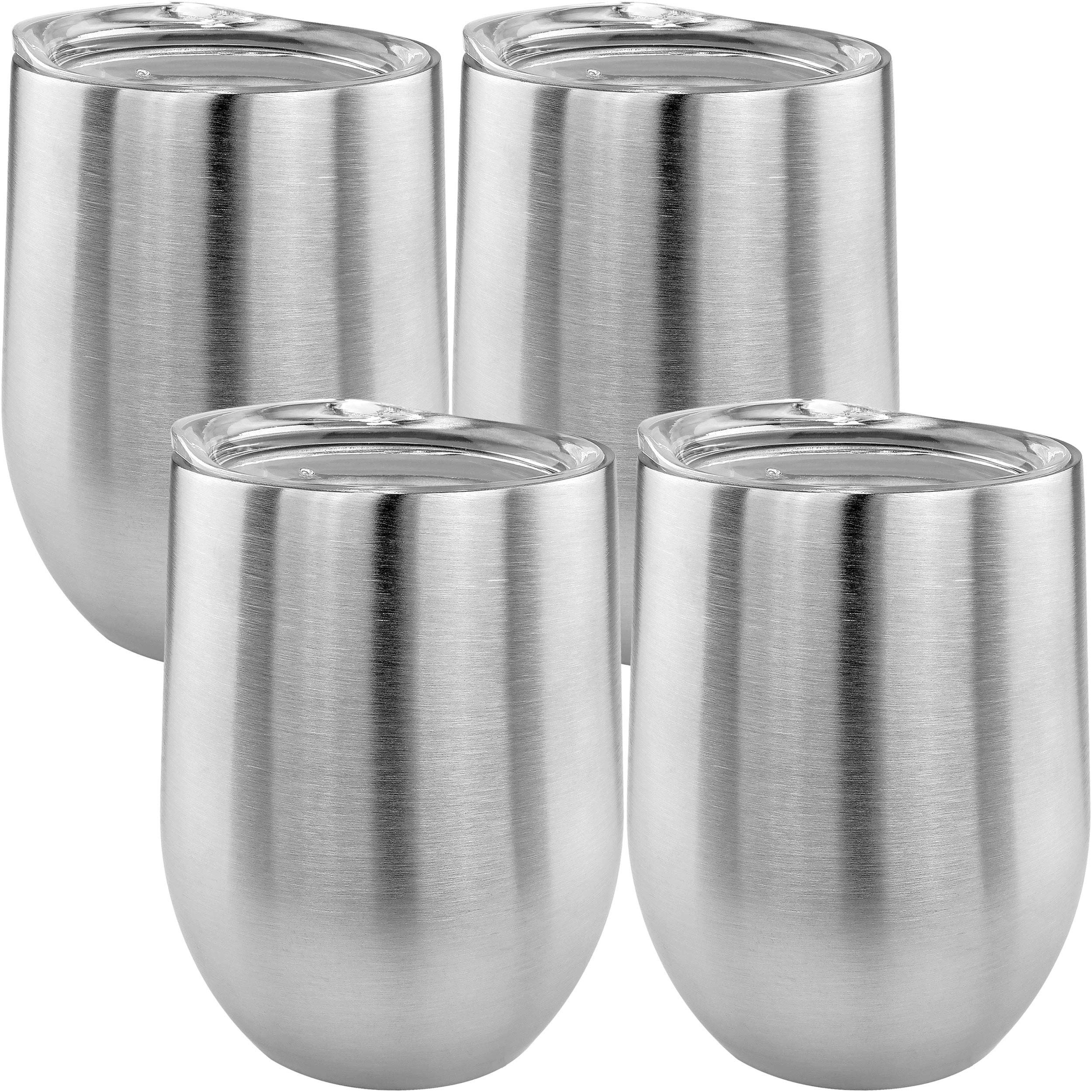 Southern Homewares SH-10212-S2-2PK Double Wall Stainless Steel Stemless Wine Glass W/ Lids 14oz (Set of 4), Silver