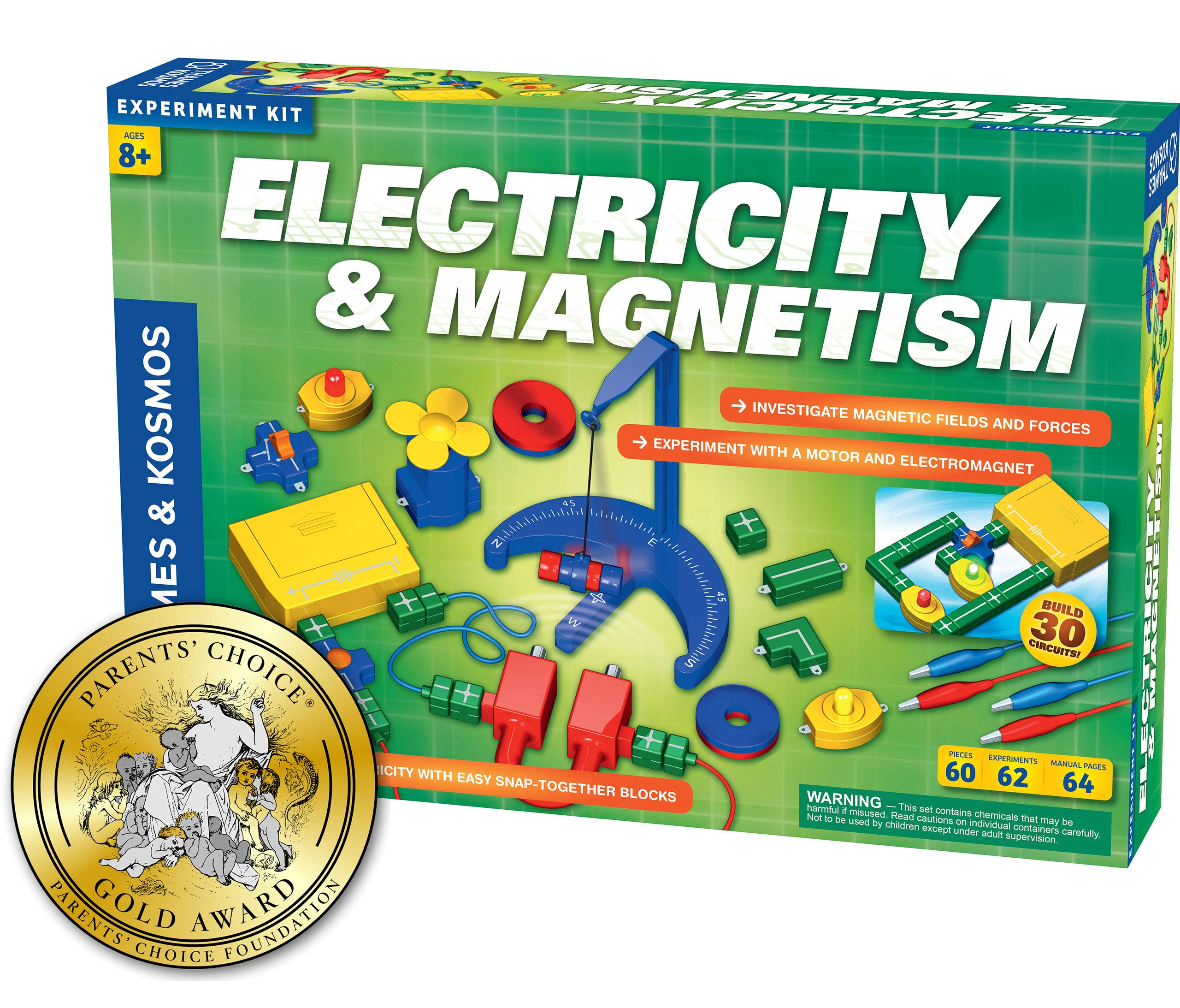 Thames & Kosmos Electricity & Magnetism Science Kit   62 Safe Experiments Investigating Magnetic Fields & Forces for Ages 8+   Assemble Electric Circuits with Easy Snap-Together Blocks by Thames & Kosmos