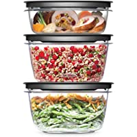 Rubbermaid 2108399 Premier Meal Prep Food Storage Containers, 6-Piece Set, Gray